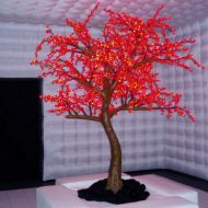 Red Cherry Blossom within Silver Inflatable Room