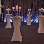 White Spandex Cocktail Table Covers with Crystal Candelabras