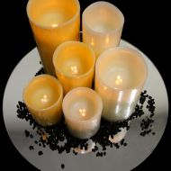Trio of Honey Coloured LED Candles along with a Trio of White LED Candles