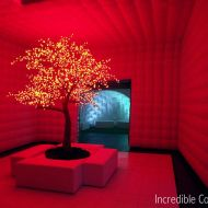 Red Cherry Blossom Tree with Red Illumination