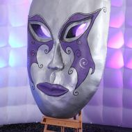 Large Silver and Purple Venetian Masks